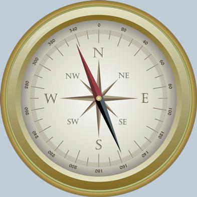 goldfarbener Kompass